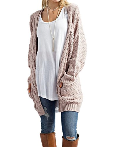 Xiakolaka Women's Long Sleeve Chunky Sweater Open Front Cable Knit Cardigans Khaki S