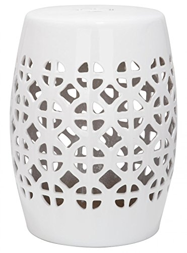Safavieh Castle Gardens Collection Circle Lattice White Ceramic Garden Stool ()