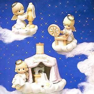 Precious Moments Celestial Seamstress – Heavenly Daze – The Golden Town Seamstress Retired 879606