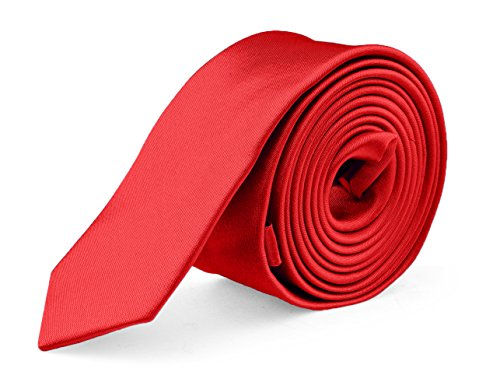 (Ties For Mens Skinny Slim Silk Finish Fashion Long Necktie - Solid Color MDR - Red)