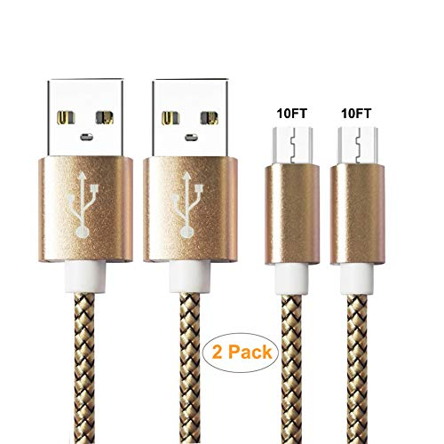 (Micro USB Cable Android,YOFUNTLE [2-Pack 10 ft] Extra Long Super-Durable Nylon-Braided Fast Sync&Charging Cord for Samsung, Kindle, HTC, Nexus, LG, Xbox, PS4, Smartphones & More (Gold))