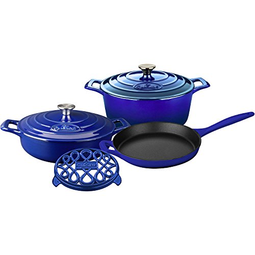6 Piece Enameled Cookware Set (La Cuisine LC 2879 6 Piece Enameled Cast Iron Round Casserole/Trivet Cookware Set, High Gloss Sapphire)