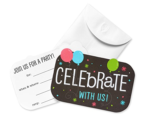 American Greetings Balloons and Confetti Party Invitation Postcards and White Envelopes, 20-Count]()