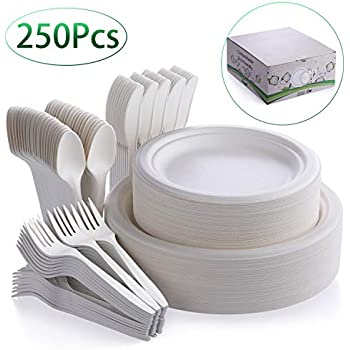 Fuyit 250Pcs Disposable Dinnerware Set, Compostable Sugarcane Cutlery Eco-Friendly Tableware Includes 50 Biodegradable Paper Plates, Forks, Knives and Spoons Combo for Party, Camping, Picnic (White)