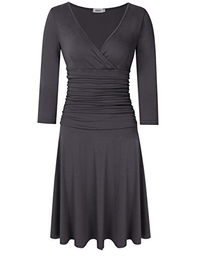 MISSKY Women 3/4 Long Sleeve Crossover Wrap V Neck Ruched Waist Slimming Swing Midi Cocktail Dress (S, Pure (Crossover Wrap)