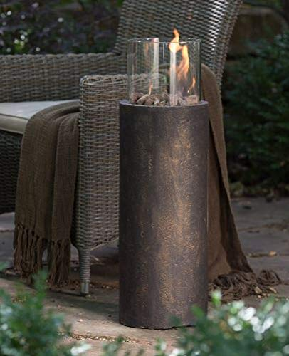 Jar Outdoor- Firepit Table for Outside-Portable Propane Fire Pit-Cozy Fire Ambiance for Nights Spent at Your Patio-Color Antique Bronze EnviroStone Glass Rimmed Bowl