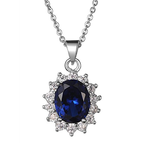 KIVN Fashion Jewelry Royal Blue Sapphire CZ Cubic Zirconia Princess Diana Bridal Wedding Necklaces for (Diana Pearl Necklace)