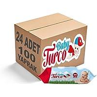 Baby Turco Islak Havlu Mendil Klasik 100 Yaprak 24 Lü Set Plastik Kapaklı