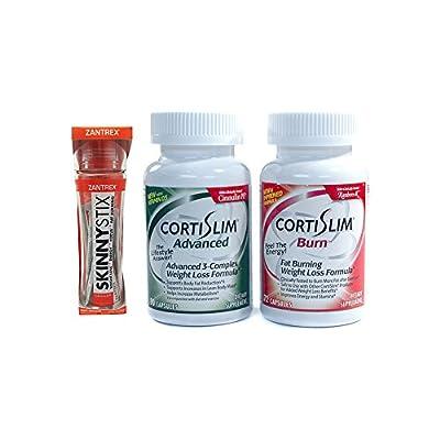 Basic Research Zantrex Skinny Stix Tangerine 25 ea and Cortislim Advanced Burn Stack