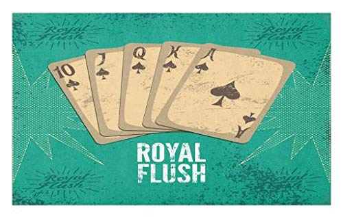 Lunarable Vintage Doormat, Retro Casino Poster Print Royal Flush with Game Cards Lucky Joker Hobby Image, Decorative Polyester Floor Mat with Non-Skid Backing, 30 W X 18 L Inches, Sea Green Beige