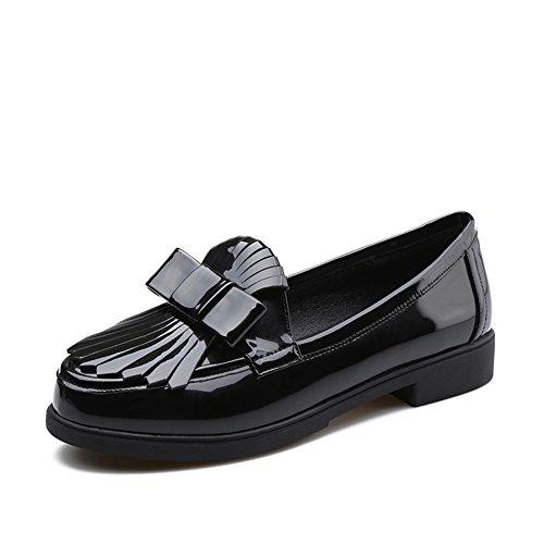 Damas ronda zapatos borla en primavera y verano/Charol gruesos tacones altos zapatos/Zapatos del estudiante A