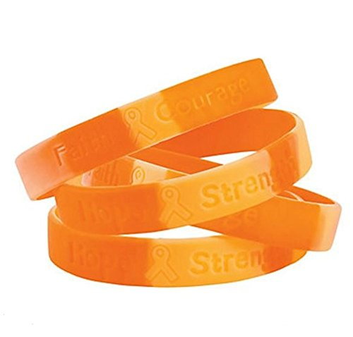 50 ORANGE CAMO SILICONE AWARENESS BRACELETS, KIDNEY, LEUKEMIA, MULTIPLE SCLEROSIS]()