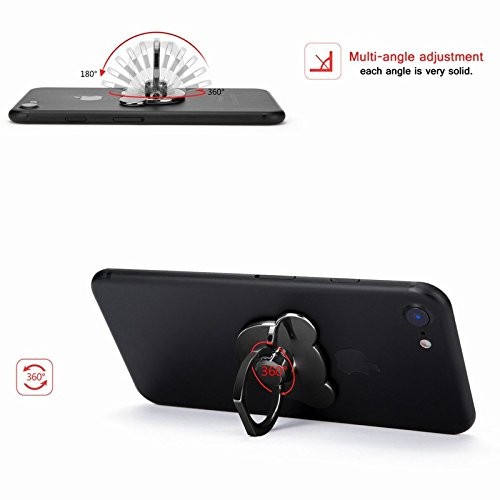 Huawei P8 Lite 2017 Case Silicone,Huawei P8 Lite 2017 Case Hard Plastic,Huawei P8 Lite 2017 Shockproof Case Cover,EUWLY Huawei P8 Lite 2017 Phone Case with 360 Degree Bear Rotating Ring Holder Support Black