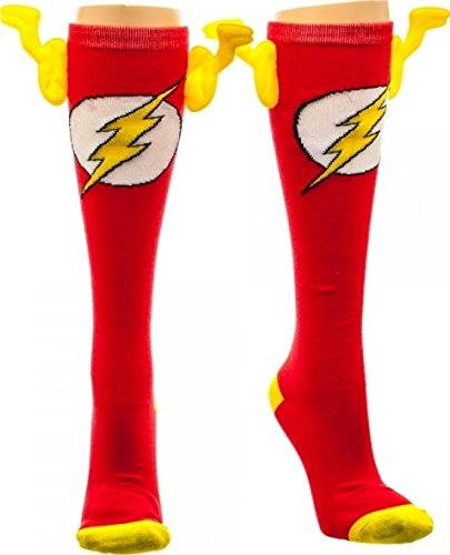 The Flash Wing Socks (Knee High), Sock Size: 9-11 (Buy Superhero Costume)