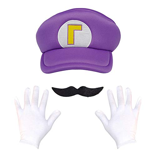 Super Maryo Brothers Cosplay Hats Odyssey Wario Luigii Waluigi Caps for Adult Kids (One Size, A-Purple)