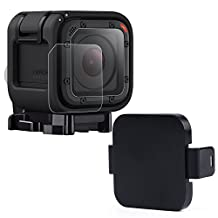 Hapurs Sports Camera Lens Cover Cap [1-Pack] and Tempered Glass Screen Protectors [2-Pack] For Gopro Hero 4 Session and 5 Session