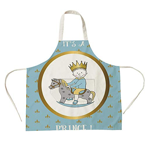 3D Printed Cotton Linen Big Pocket Apron,Gender Reveal Decorations,Its A Prince Quote with Newborn Boy Riding Horse Damask,Gold Light Blue,for Cooking Baking Gardening