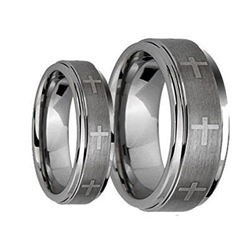 Set Cross Wedding Ring - His & Her's 8MM/6MM Brushed Center with Laser Cross Engraved Shiny Edge Tungsten Carbide Wedding Band Ring Set