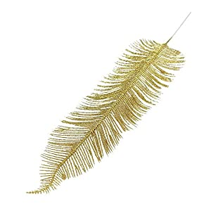 MARJON Flowers2X Large Heavy Glittered Spiky Feather Leaf - Glittery Flowers Home Decor Fake[Gold] 96