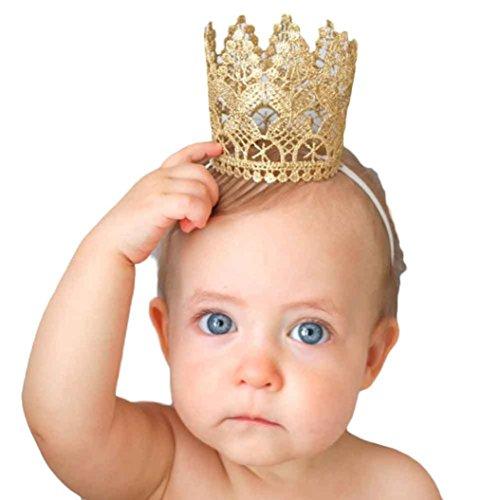 (Highpot Baby Girl Queen Crown Lace Headband Photo Party Princess Headdress)