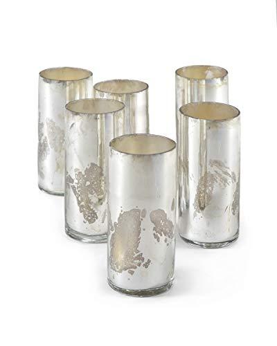 (Serene Spaces Living Antique Silver Cylinder Vase, Handmade Mercury Glass Finish, Measures 4