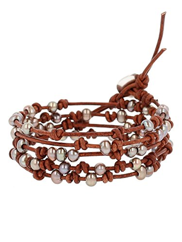 Chan Luu Taupe Freshwater Cultured Pearls On A Natural Brown Knotted Leather Wrap Bracelet
