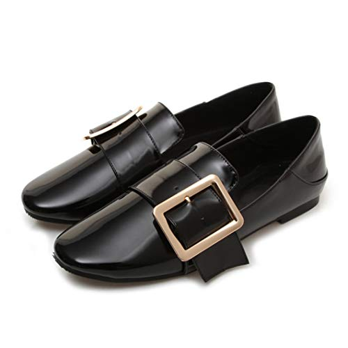 Womens Flats Loafers Patent Leather Round Toe Buckle Shoes Casual Slip-on Mules Shoes Black