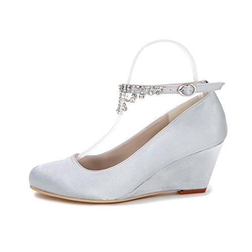 Empate 9140 Multi Boda 05 Las De Dedo Personalización yc L Tacón color Mujeres Cerrar Zapatos Silver La Cuña Alto naPzn76q