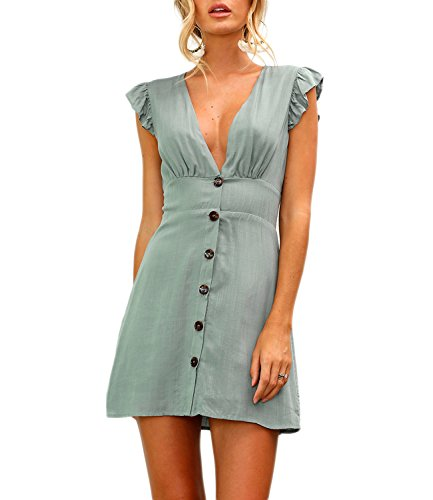 Mansy Womens Deep V Neck Button Sleeveless Dress
