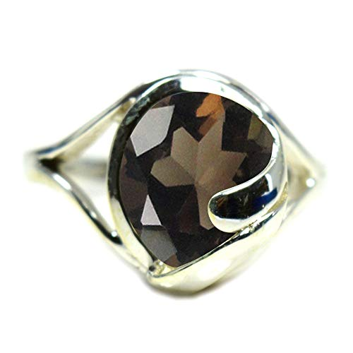 55Carat Choose Your Color Natural Gemstone Rings Oval Shape Handmade Sterling Silver Jewelry Size 5 to 13 (Oval Quartz Ring Faceted Smoky)