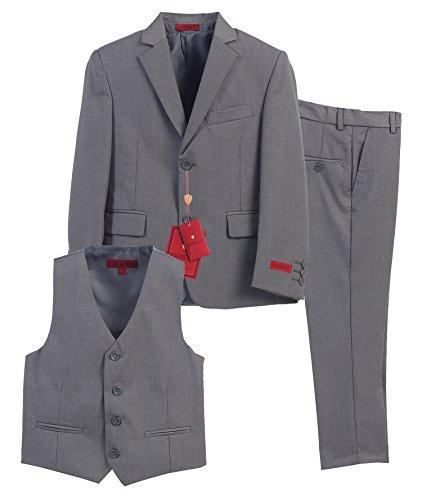 Gioberti Boy's Formal 3 Piece Suit Set, Gray, Size 14