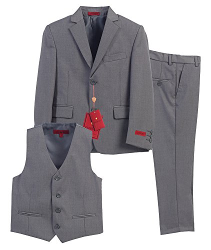 Gioberti Boy's Formal 3 Piece Suit Set, Gray, Size 7