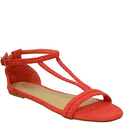 de cheville Bride Fashion Cucu femme Rouge Rouge Hwq61H8ExU
