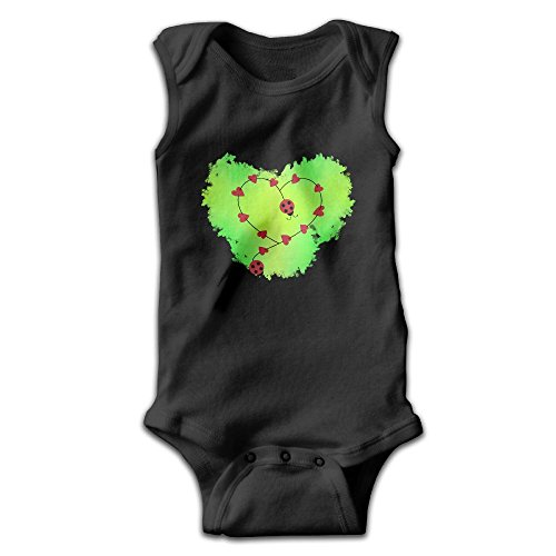 Klsierder Ladybug hearts Green Unisex-Baby Summer Bodysuits Sleeveless Bodysuits 18 ()