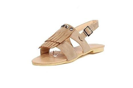 Beauqueen Sandalen Frauen Sommer Pumps Quaste flache Wölbung weibliche beiläufige Schuhe spezielle Größe Europa 30-43 , brown , 35