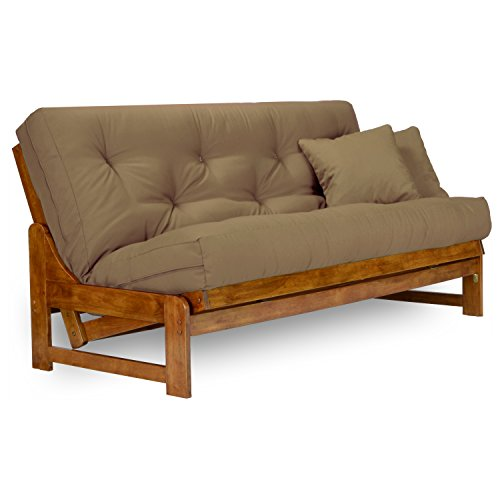 Arden Futon Set - Full Size Futon Frame with Mattress Included (8 Inch Thick Mattress, Twill Khaki Color), More Colors Available, Heavy Duty Wood, Popular Sofa Bed Choice (Sleeper Armless)