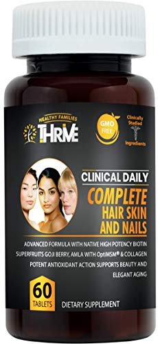Complete Hair Skin Nails Supplement. 60 Tablets 10000 mcg |Biotin, Collagen Peptides, Hyaluronic Acid, Vitamins C & E, Keratin. Non GMO Vegan Tablets for Hair Growth, Nail & Skin Care. Clinical Daily
