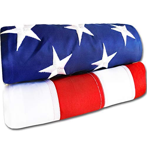 American Flag 6x10 ft - Heavy-Duty US Flag - Embroidered Stars - Nylon USA Flag Built for Outdoors - Sewn Stripes - UV Protection - Brass Grommets