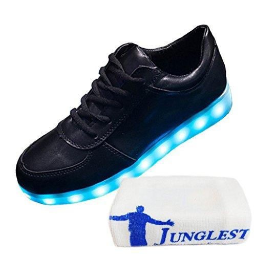 [Presente:pequeña toalla]JUNGLEST® 7 Colores USB Carga LED Luz Glow Luminosos Light Up Flashing Sneakers Zapatos Deportivos de Low Negro