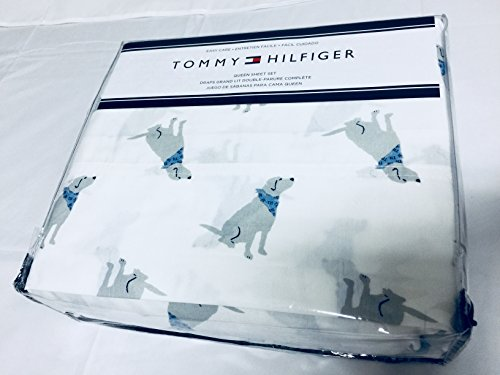 Tommy Hilfiger Queen Sheet Set Dogs with Blue Scarf Cotton Flannel 4 Pc Blue White Bedding Animal Print by Tommy- Hilfiger
