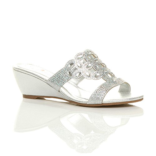 Ajvani Womens Ladies Low mid Wedge Heel Diamante Cut Out Evening Sandals Mules Size Silver UwL10eNyMF