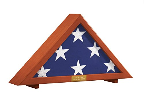 Military Flag Display Case with Personalized Brass Plaque | Holds 5' X 9.5' Folded Veteran's Memorial Burial (American Flag Plaque)