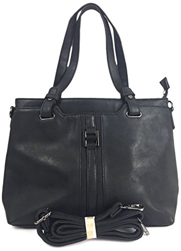 A Style Nu Designer Medium Size Buck Black a Shipping Luxurious faux Women's LORENZO in Italian Classic Ladies medium size Shoulder bag with Leather Free Tote gZ5qAXx