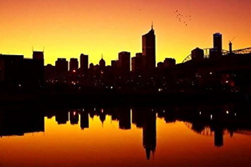 melbourne-cbd-and-telstra-dome-at-dawn-victoria-australia-poster-print-by-david-wall-36-x-24