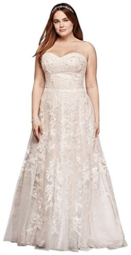 Melissa Sweet Lace A-Line Plus Size Wedding Dress Style 8MS251174, Ivory, 18W