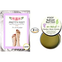 Exfoliating foot peeling mask and foot butter combo pack.removes dead skin, detox, heals, repair, smooth, and soften your dry, rough, cracking, callused, feet   Restores healthy feet (2 pack)