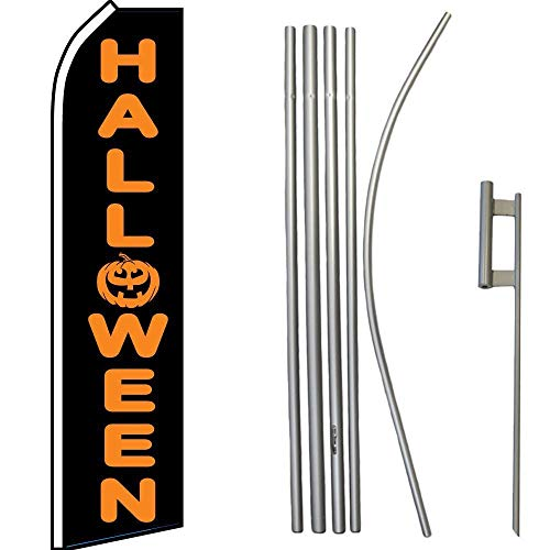 ALBATROS Halloween Black Orange Swooper Flag with 16ft Flagpole Kit/Ground Spike for Home and Parades, Official Party, All Weather Indoors Outdoors