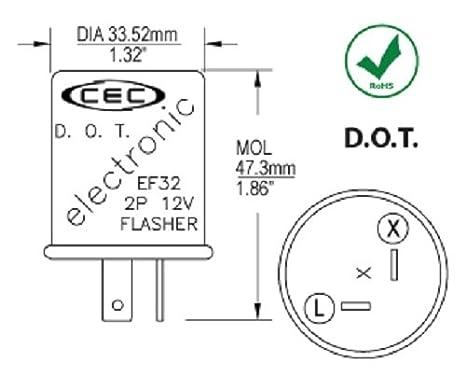 amazon com cec industries ef32 electronic turn signal flasher relay rh amazon com Alternating Flasher Wiring-Diagram Turn Signal Flasher Relay Wiring Diagram