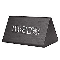 Egundo Wooden Triangle Alarm Clock LED Digital Display Temperature Humidity Support 3 Groups of Alarm, Adjustable Brightness, Acoustic Control, Time Memory USB and Battery Powered Modern for Bedrooms