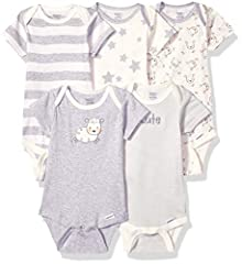 Make the all natural choice for your little boy or girl with this 5-pack of unisex organic short sleeve onesies bodysuits from Gerber! produced without the use of artificial chemicals, the organic 100 percent cotton rib fabric is something yo...